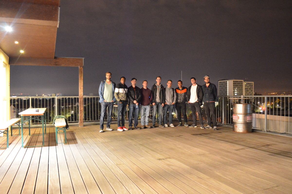 The group at the roof of the hostel
