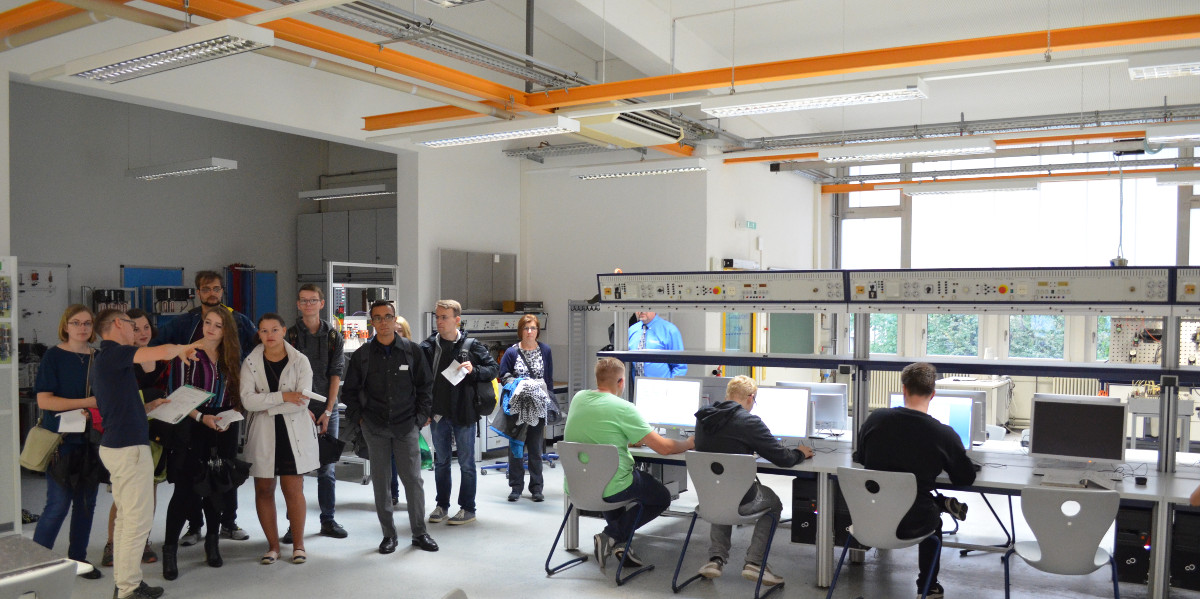Group of students in the automation lab